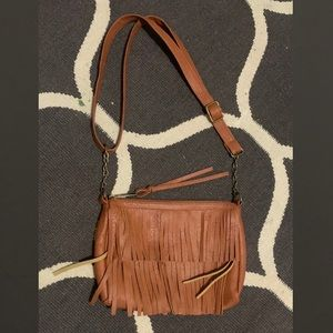 Brown faux leather fringe purse